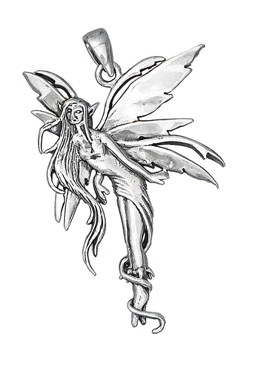 Sterling Silver Girls .8mm Box Chain Standing Fairy Pendant Necklace