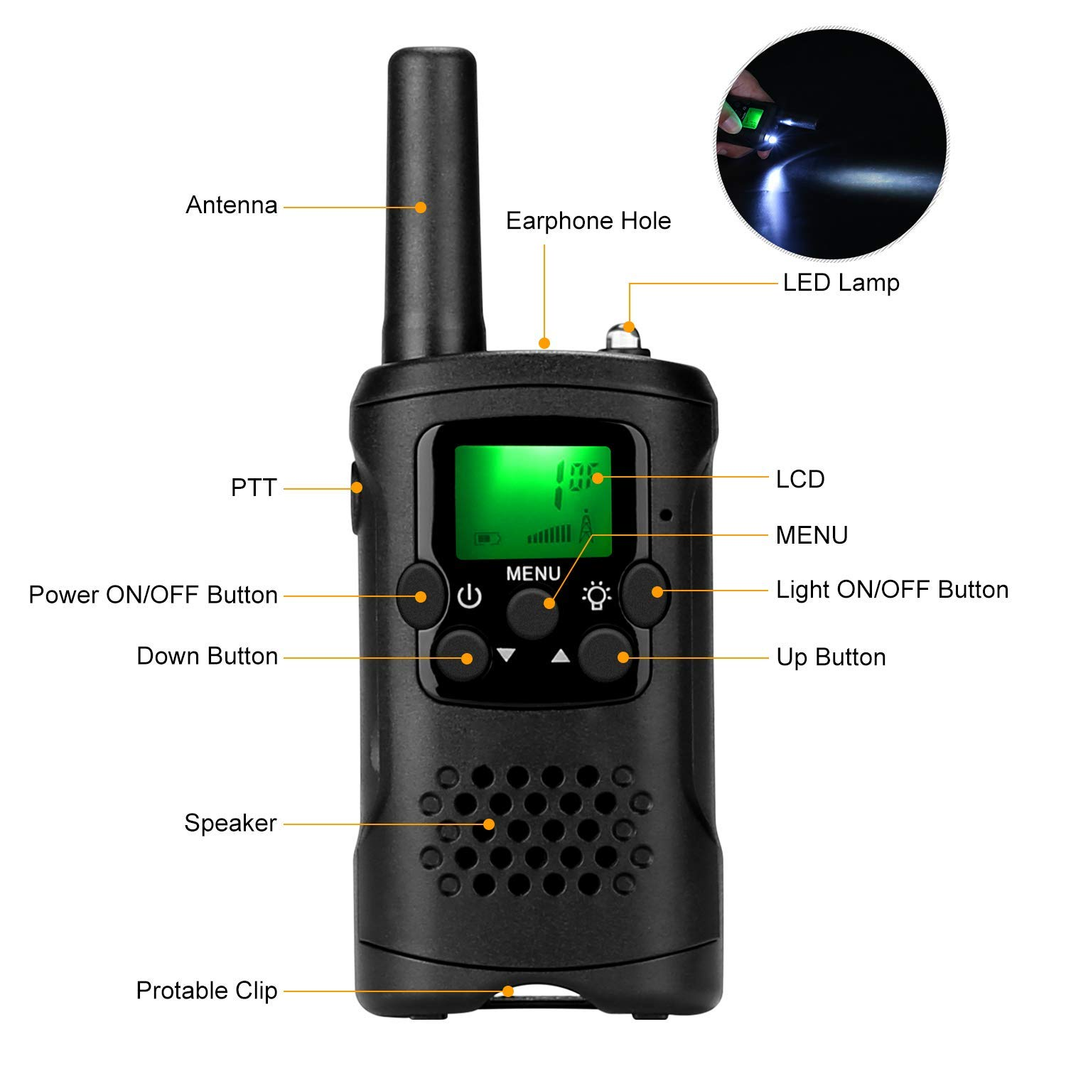 Kids Walkie Talkies with Whistles and Lanyards, Two Way Radio Long Range Walkie Talky Toy with Flashlight for Boys Girls by VERDUO (Image #1)