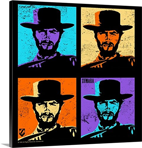 Great BIG Canvas Gallery-Wrapped Canvas entitled Clint Eastwood Multi Stamp by greatBIGcanvas