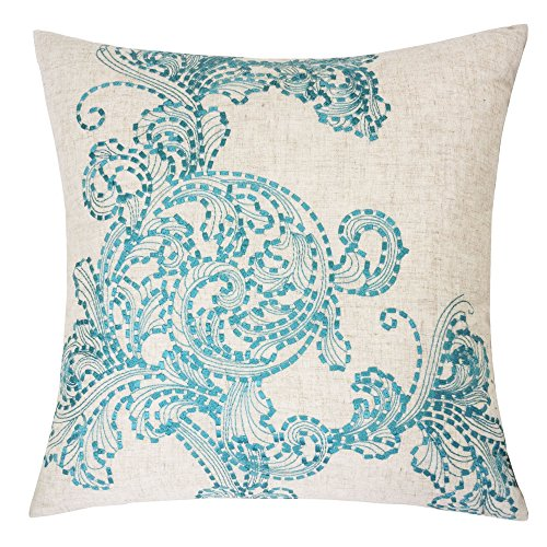 Homey Cozy Embroidered Linen Throw Pillow Cover, Amesbury Tan and Teal Floral Decorative Square Couch Cushion Pillow Case 20 x 20 Inch, Cover Only