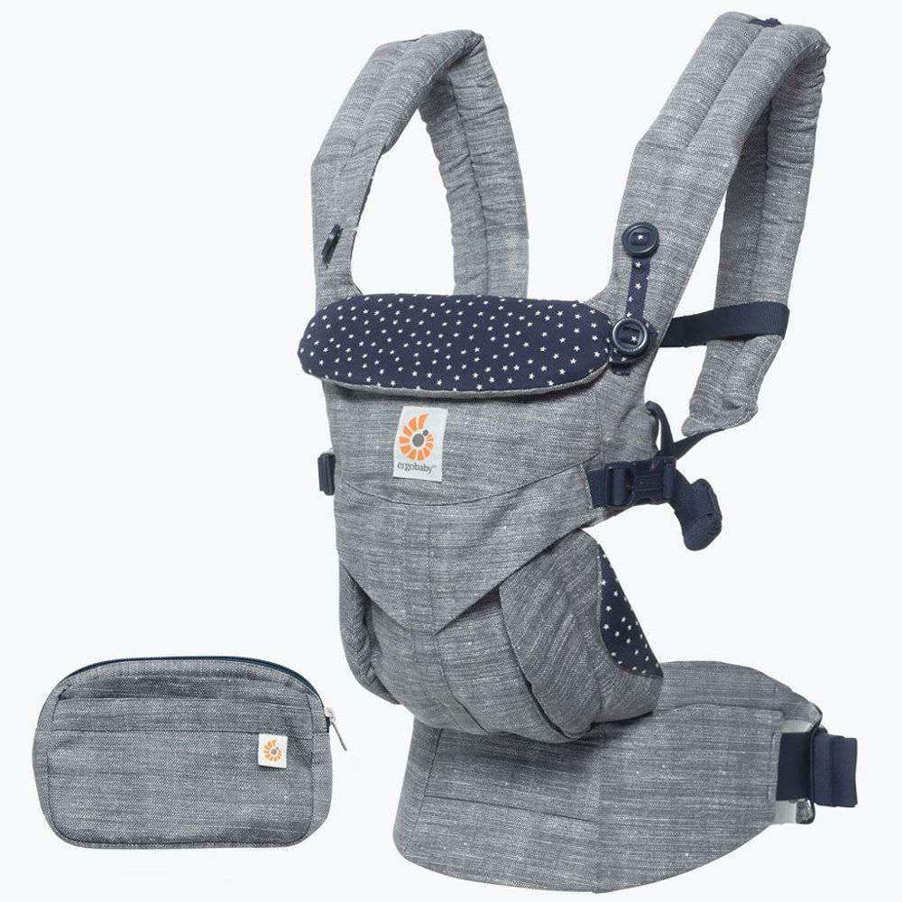Ergobaby Babytrage für Neugeborene von 3.2 bis 20kg, Omni 360 4-Positionen Baby und Kindertrage, Ergonomische Tragetasche für Rücken und Bauch Star Dust
