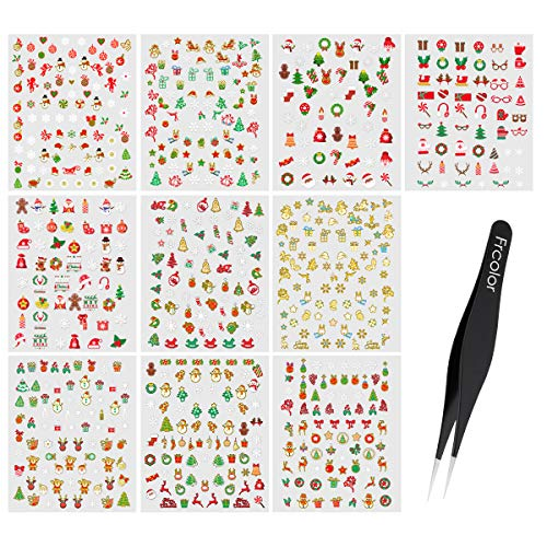 Frcolor 12 Sheets Nail Stickers Christmas,3D Adhesive DIY Christmas Snowflakes Snowmen Stencil Pattern Nail Art Stickers for Fingernails Toenails Xmas Nail Decals With Tweezer
