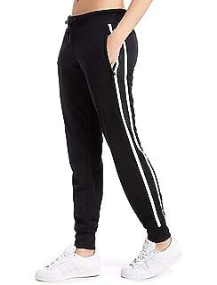 a5137d0d76 Women's Cuffed Jogger Pants Drawstring Side Stripe Track Active Workout  Yoga Sweatpants Dual White Striped