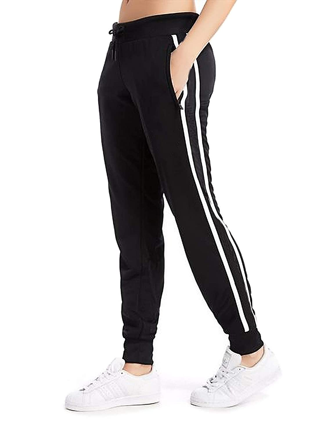 aa7e32b142 Women's Cuffed Jogger Pants Drawstring Side Stripe Track Active Workout  Yoga Sweatpants Dual White Striped at Amazon Women's Clothing store:
