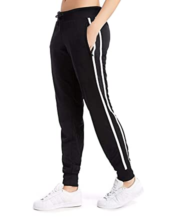 5683d798 Women's Cuffed Jogger Pants Drawstring Side Stripe Active Workout Yoga  Sweatpants Legging with Pockets S