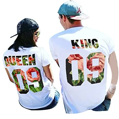 55d783fcd355 Tomwell King and Queen Couples T-Shirts Spring Summer Short Sleeve Tee Top  Lovers Matching T Shirt Clothes Tops  Amazon.co.uk  Clothing