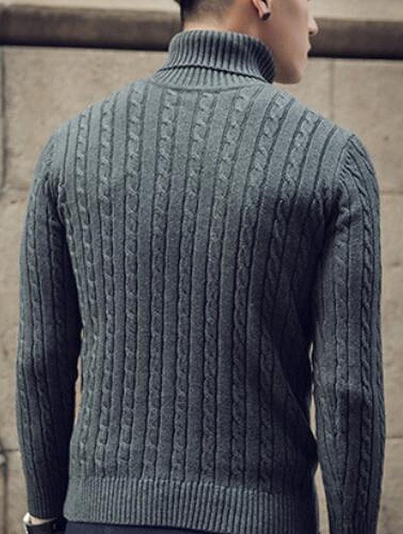 RRINSINS Mens Slim Fit Ribbed Solid Color Turtleneck Pullover Sweater