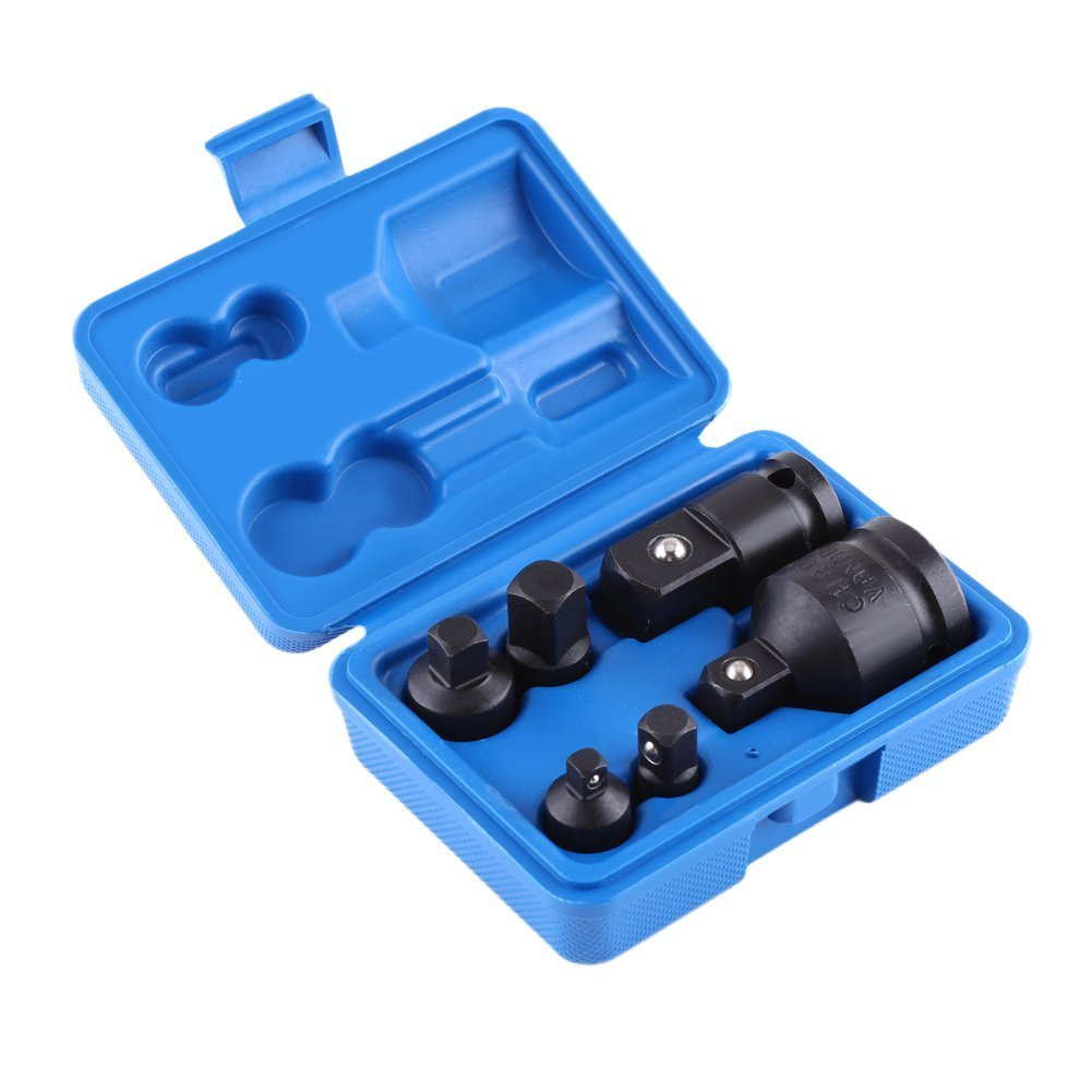 Adaptador de vaso de impacto, 6 piezas reductor de impacto, con funda de color al azar 19 mm, 12,7 mm, 9,5 mm, 6,3 mm Yosoo