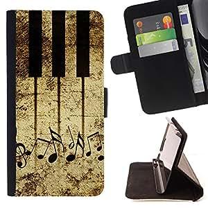 Devil Case- Estilo PU billetera de cuero del soporte del tirš®n [solapa de cierre] Cubierta FOR Samsung Galaxy S6 G9200- Piano Music