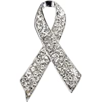 Bling Stars Breast Cancer Awareness Pink Enamel Crystal Ribbon Brooch Pin Women Fashion Jewelry