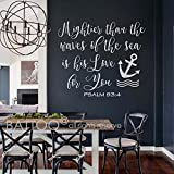 BATTOO Psalm 93:4 Mightier than the waves of the sea is His love for you -Nautical Nursery Sailor Anchor Wall Decal Child Vinyl Wall Art Sticker(white, 18.5'' WX16 H)