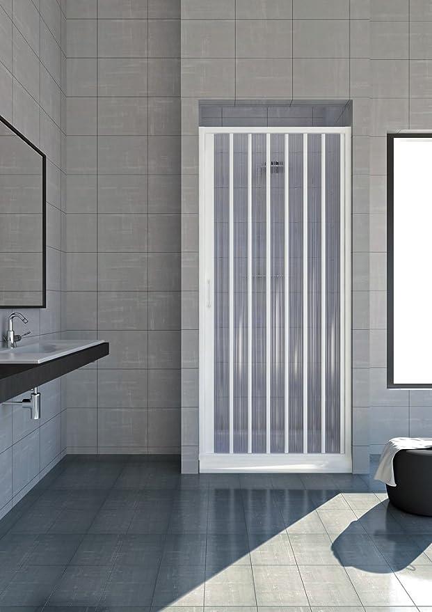 Puerta plegable para ducha, plástico PVC, 1 lateral, apertura de 80 cm: Amazon.es: Hogar