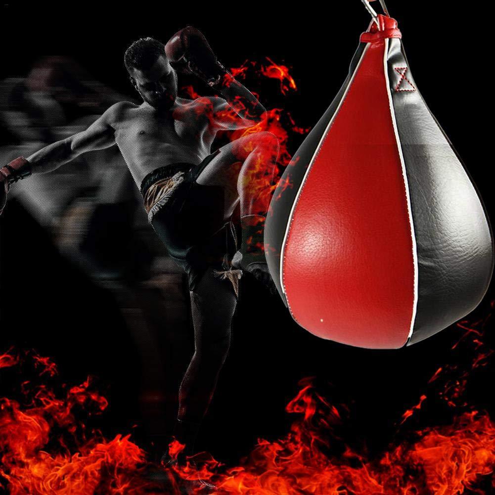 Hangarone Peras De Boxeo De Velocidad Profesional Bolsa De Boxeo De Piel con Correa El/ástica para Entrenamiento De Velocidad Profesional para Boxeo Formaci/ón Y Ejercicio Rojo /& Negro Valuable