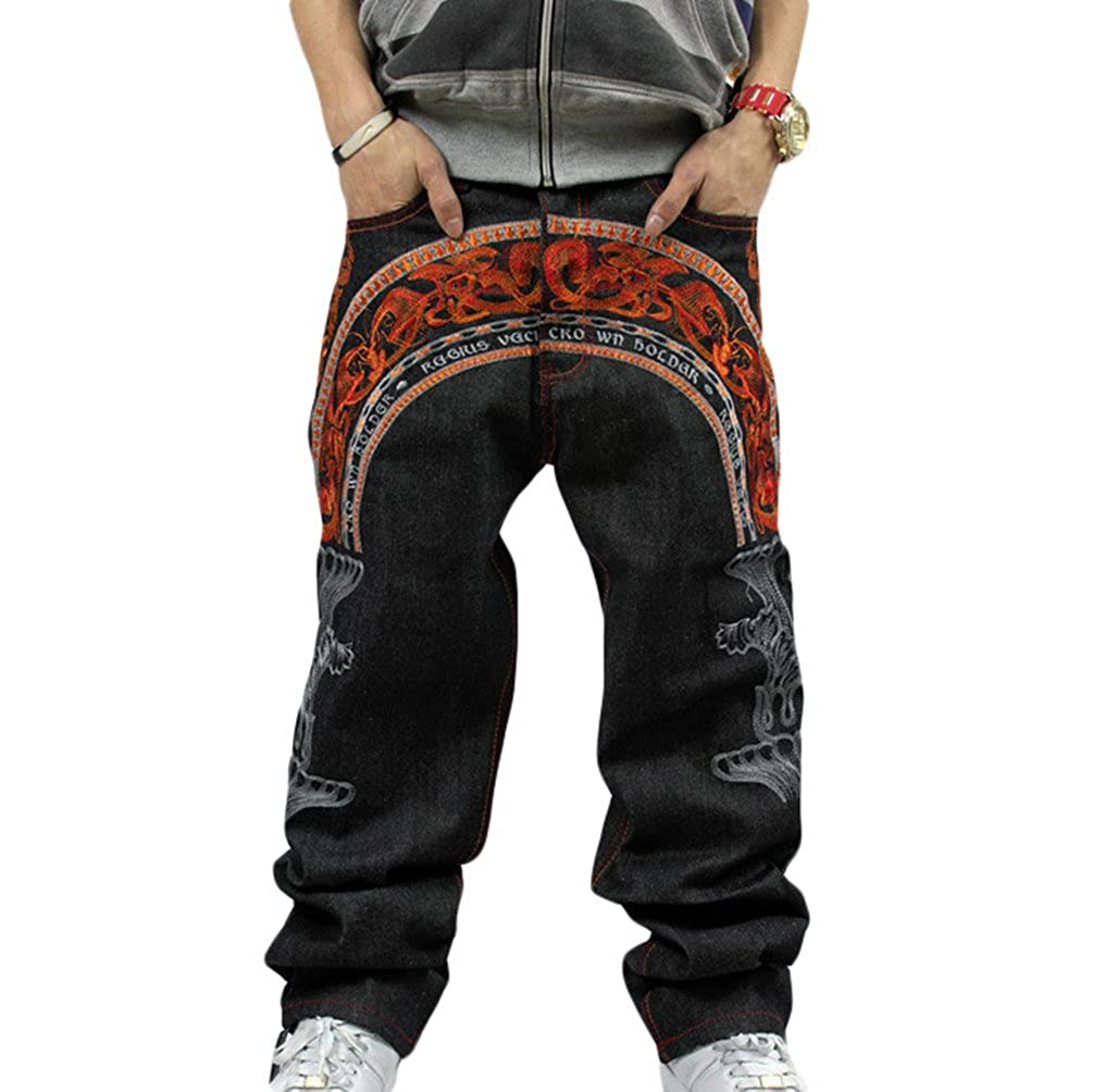 Dexinx Uomo Colorful Ricamo Stampato Jeans Urbano Baggy Denim dei Pantaloni di Hip Hop Danza Classico