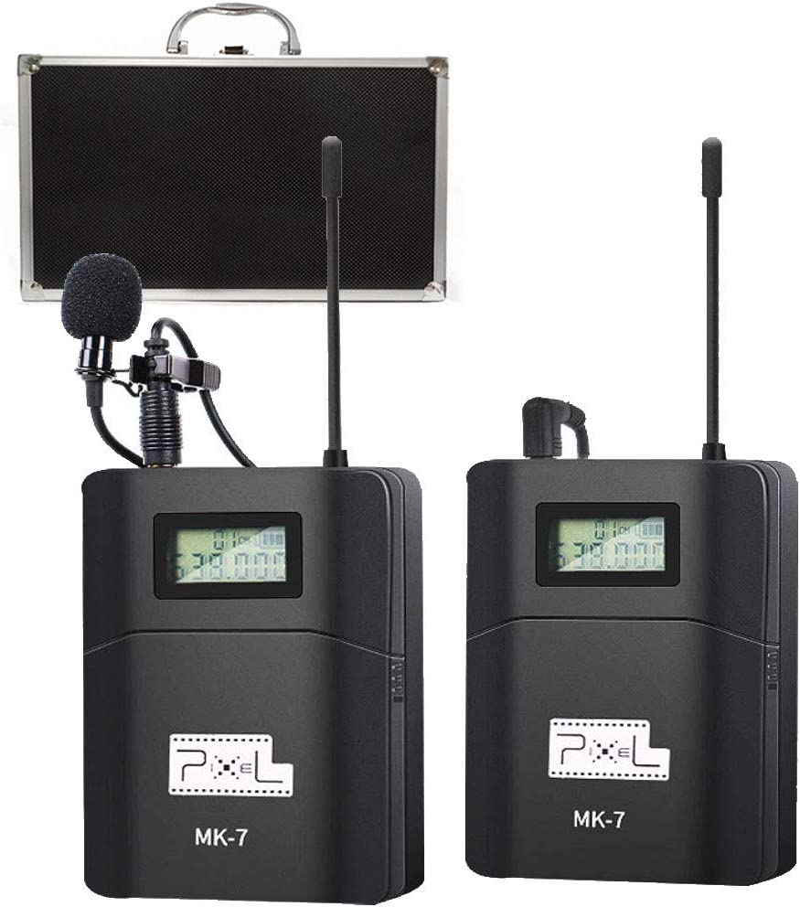 Pixel UHF Wireless Lavalier Microphone Photographic and Recording Microphone for SLR Camera Used for Photography Video Recording Gathering Need 3.5mm Interface