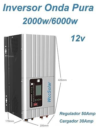 Inversor Onda Pura Hibrido 2000W/6000W 12V Regulador 50A ...