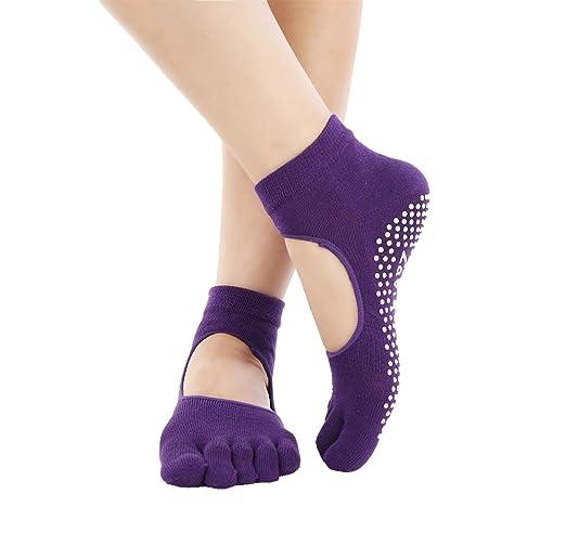 5 pares calcetines Yoga, Pilates antideslizante Skid Barre ...