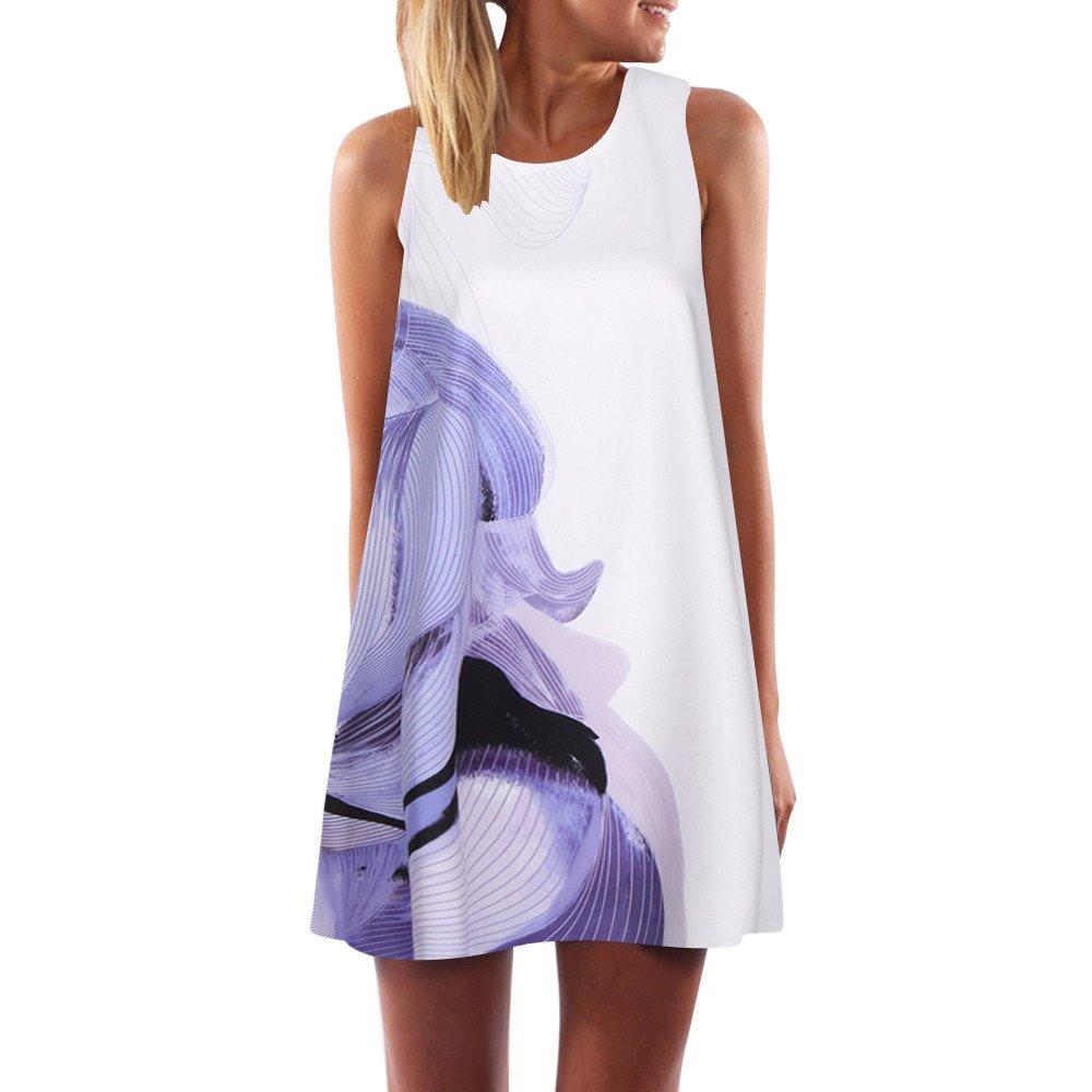 Vest Dresses for Office,Vintage Boho Women Summer Sleeveless Beach Printed Short Mini Dress,White,L