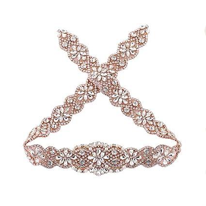 cfb8f059e9 Amazon.com: 29-in Wedding Belt Rhinestone Appliques, Crystal Bridal ...