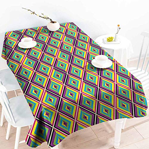 familytaste Colorful,Table Cloth for Outdoor Picnic Rhombus Composition with Bullseye Pattern Geometric Arrangement Angled Stripes 60