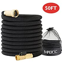 Garden Hose MATCC 50 Feet Expandable Hose 3/4 Solid Brass Fittings with Shut Off Valve Expanding Garden Hose