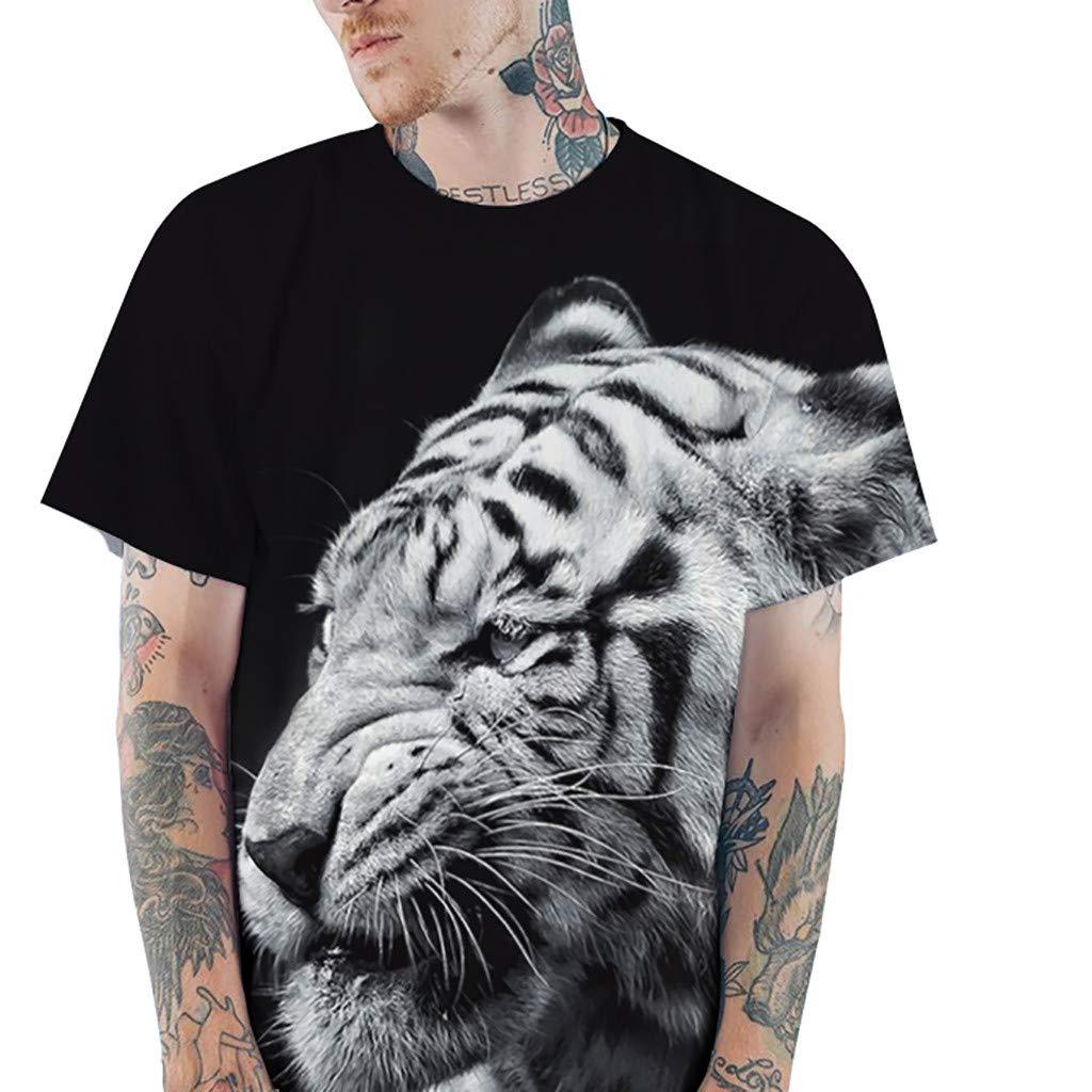 Mens Premium Fashion T-Shirt,MmNote Tiger Print Loose Cool Quick Original Classic Fit Simple Short Sleeve