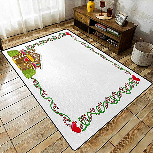 Classroom Rug,Kids Christmas,Frame Featuring Sweet Candy Canes Hearts and a Gingerbread Cookie House,Machine-Washable/Non-Slip,5'10