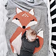 Makaor Kids Fox Knitting Blanket Bedding Quilt Play Blanket Animal Newborn Baby Throw Blanket Crib Wrap Blanket For 0-6 Age Baby By (Size: 75cmx 105cm/29.5 x 41.3 , Gray)
