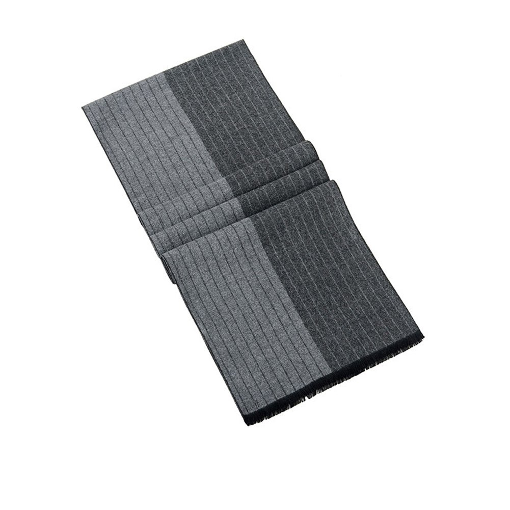 Mens Classic Long Fringe Striped Scarf Fashion Gentleman Business Scarves (Grey) by HiRosy (Image #4)