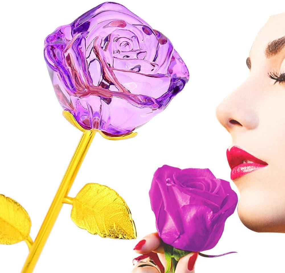 zjchao Rosa Bañada de Cristal 24K Tallo de Oro - Regalo Ideal para Navidad Día de Madre de Cumpleaños de Boda Aniversario de San Valentín (Violeta)