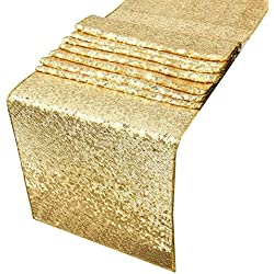Sequin Table Runners Gold-AMAZLINEN 12 By 108 Inch Glitter Gold Table Runner-Gold Event Party Supplies Fabric Decorations For Wedding Birthday Baby Shower
