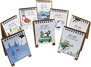 8 PCs Mini Desk Calendar 2019-2020 Stand Up Desktop Flip Calendar Daily Monthly Table Planner Agenda Organizer for School Office Home