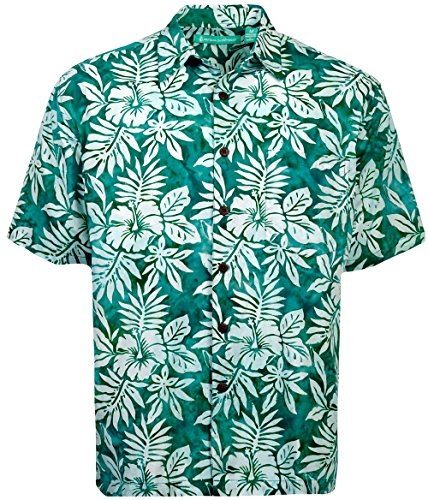 Artisan Outfitters Lake Tahoe Batik Cotton Hawaiian Shirt (Pine Green, 4XB) AO118-1057-4XB Pine Green Apparel