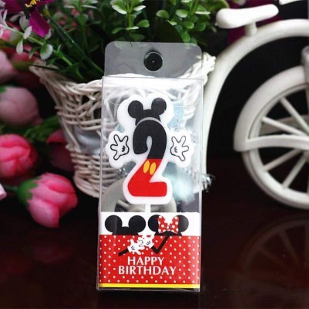 MOMO Vela de cumpleaños Mickey Minnie Mouse Vela 0-9 ...
