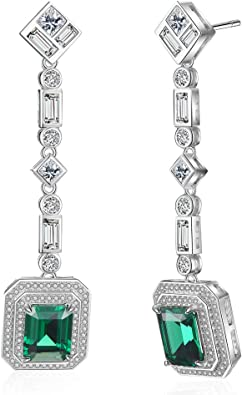 OUTSTANDING STERLING SILVER PLATED MODERN SQUARE DANGLE DROP EARRINGS