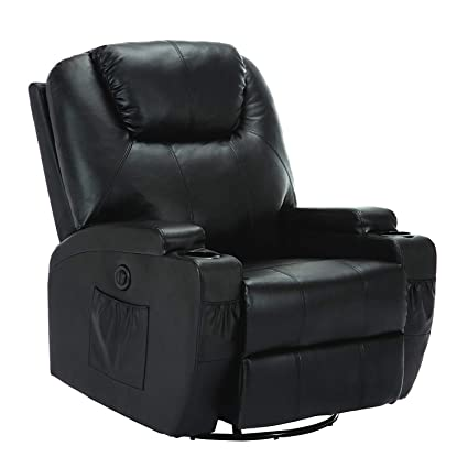 Fantastic Mecor Electric Massage Recliner Chair Leather Recliner Heated Reclining Rocker With Cup Holder 360 Swivel For Living Room Black Beatyapartments Chair Design Images Beatyapartmentscom