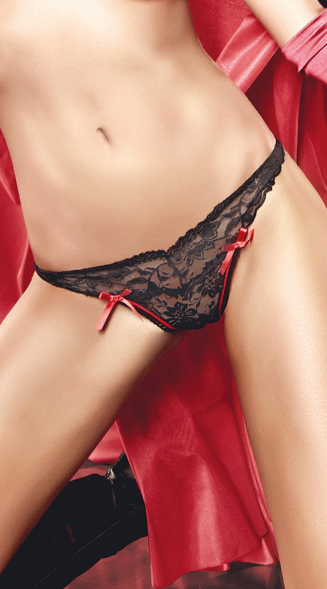 1e40e0a560dd Baci Lingerie Small Black/Red Lace Thong With Bow: Amazon.co.uk: Health &  Personal Care