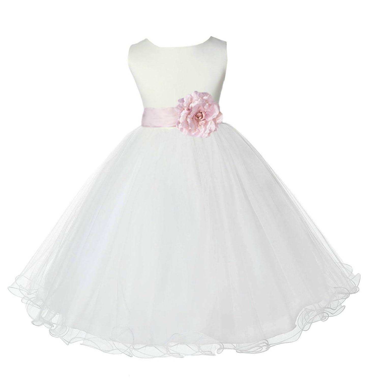 6af5752b2 Amazon.com: ekidsbridal Ivory Tulle Rattail Edge Formal Flower Girl Dresses  Christening Dresses 829S: Clothing