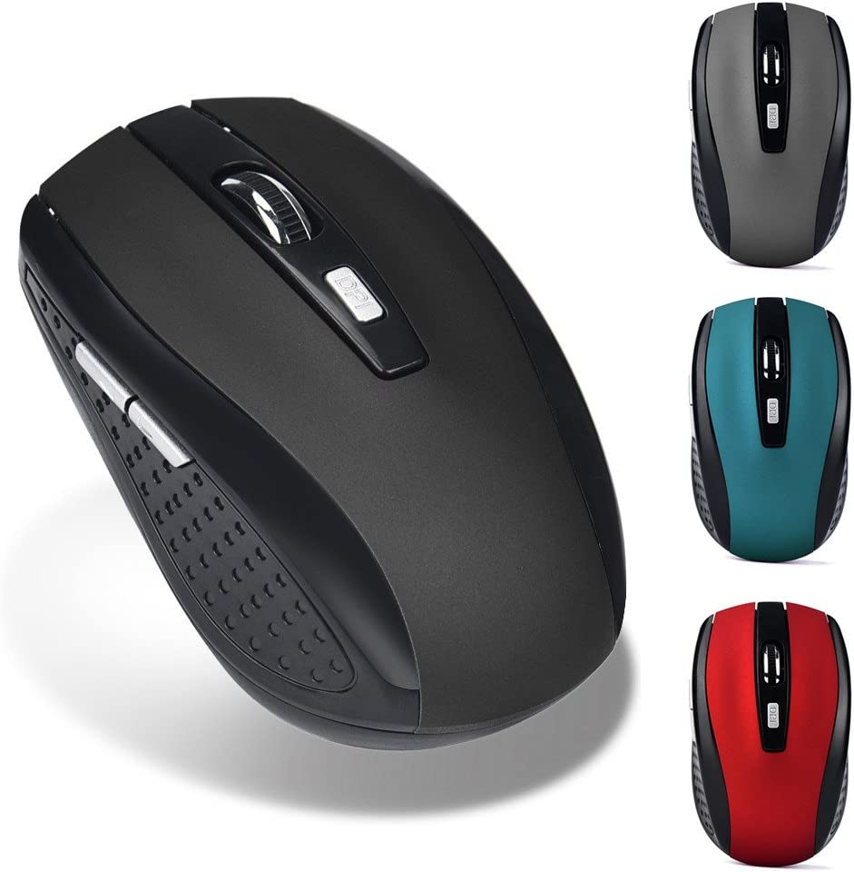 Wireless Slim Mouse, TOPTEL Button Silent Full Size Cordless Mice,Adjustable CPI Levels, Portable Optical Mouse with USB Receiver and ON-Off Switch for PC, Computer and Mac (Red)