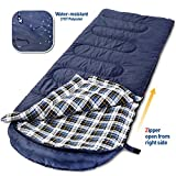 Hollegend Adults Sleeping Bags for Camping,Backpacking,Hiking with Compression Sack,30F/0C Cotton Flannel Comfortable Warm and Large,Compact Lightweight,Envelope Blue(90.5″X32.6″) For Sale
