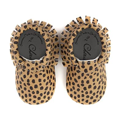 Cheetah Print Moccasin Black Brown Size 0 0-3 Month 100% American Leather Moccasins