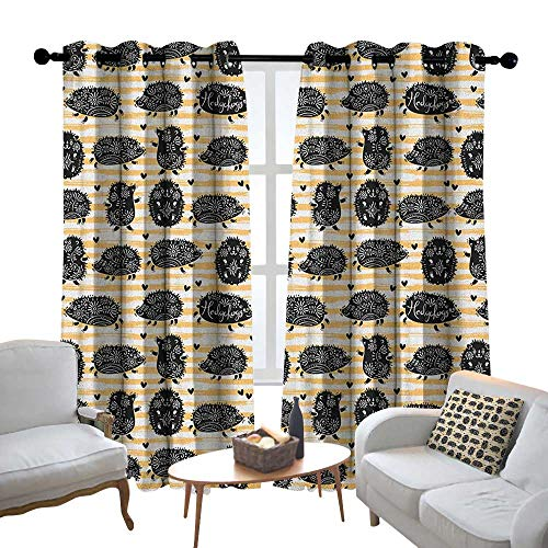 Modern Farmhouse Country Curtains Hedgehog,Brushstroke Style Striped Backdrop Funny Animals with Floral Patterns, Pale Orange Black White,Design Drapes 2 Panels Bedroom Kitchen Curtains 54