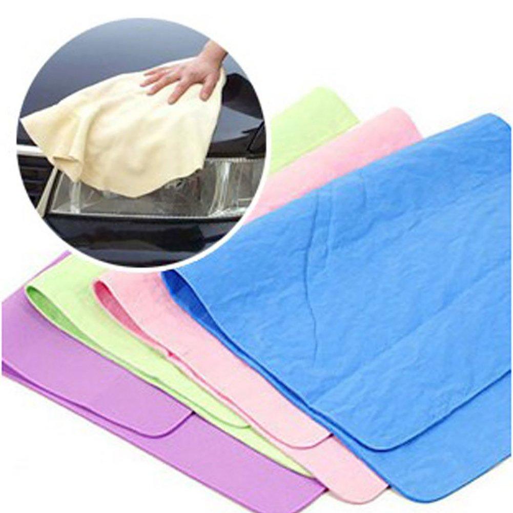 Dry Hair Towel Maserfaliw,Magic Towel Cloth Absorber Synthetic Chamois Leather Goods Car Washing Hair Dry - Random Color 30x20cm