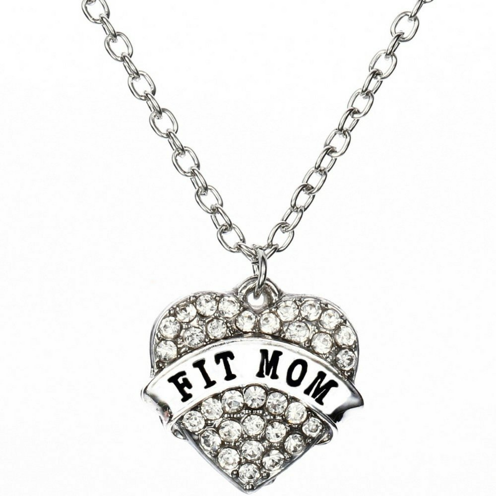 Mom Necklace for Women: Rhinestone Heart Fit Mom Pendant Necklace (Rhinestone Clear)