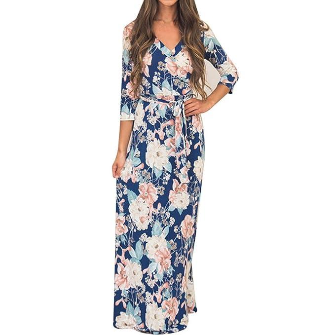 5af86f44ac Teresamoon Women Floral Half Sleeve Long Dress  Amazon.ca  Clothing ...