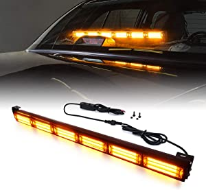Xprite 27 Inch Amber Yellow COB Traffic Advisor Strobe Light Bar w/ 21 Flash Patterns, Hazard Warning Directional Flashing LED Safety Lights for Emergency Vehicles Trucks Roof Interior Windshield