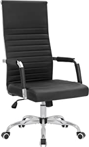 KaiMeng Ribbed Office Chair High Back PU Leather Chair Adjustable Swivel Task Chair with Armrest for Conference Study Leisure (Black)