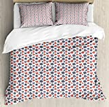 Lunarable Poker Queen Size Duvet Cover Set, Abstract Playing Card Suits with Dotted Pattern Casino Theme Cartoon Style Image, Decorative 3 Piece Bedding Set with 2 Pillow Shams, Violet Blue Red