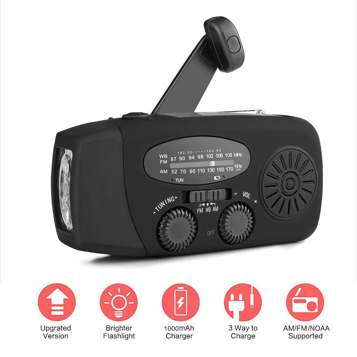 Emergency Weather Radio, ALLOMN Solar Powered Hand Crank Emergency FM/AM/NOAA Radio with 3-LED Flashlight and 1000mAh Power Bank for Smartphones (Black)