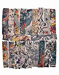 AshopZ Bundle 20pc Pack Fake Temporary Colorful Tattoo Sleeves Art Arm Stockings